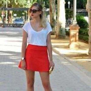 Zara Red Mini A-line Skirt